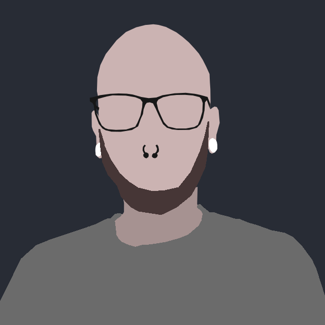 Minimalistic cartoonified picture of Marco Kellershoff a.k.a. Walialu with glasses on.